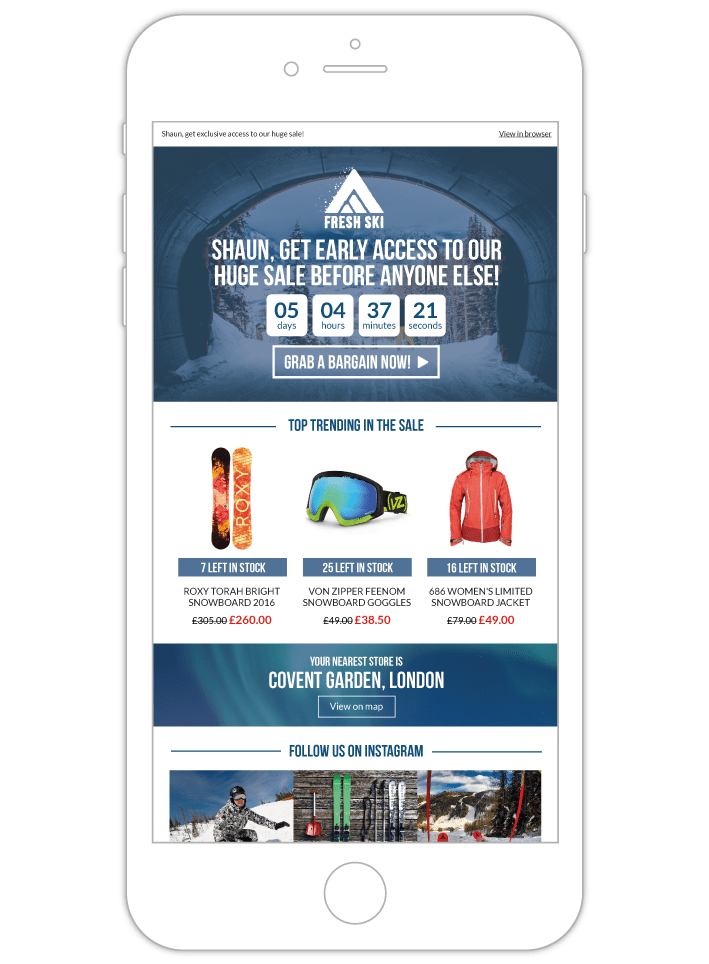 Contextual email mock up with countdown and product recommendations