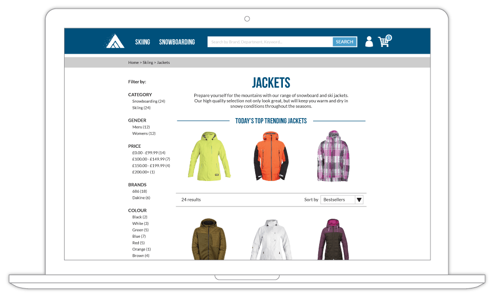 Product recommendations on web example