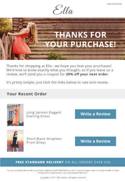 Post Purchase Email