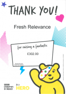 bbc children in need charity fundraising certificate