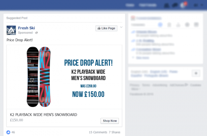 Price Drop Facebook Adverts