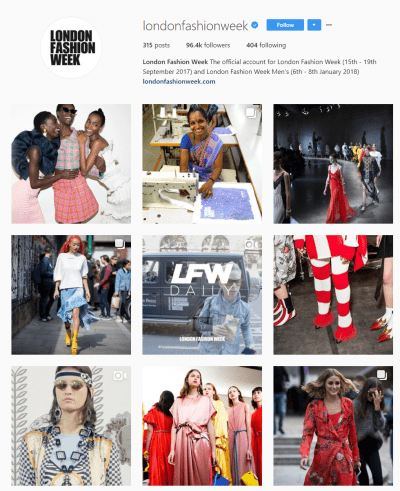 London Fashion Week Instagram social media digital marketing