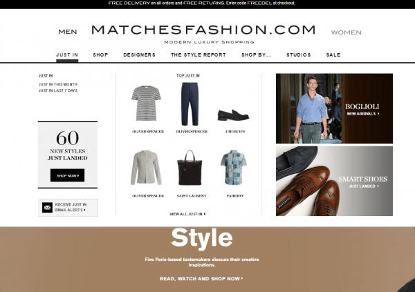 Matchesfashion.com product recs in navigation