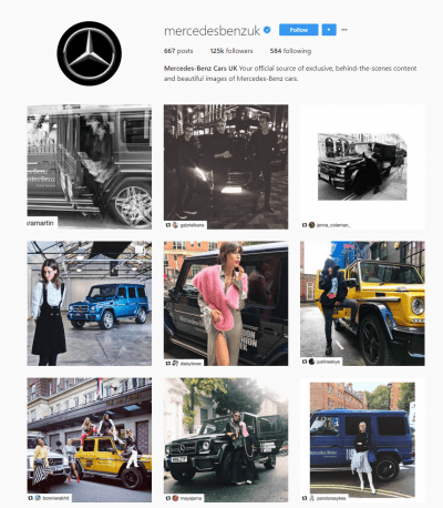 Mercedes Instagram london fashion week social media digital marketing