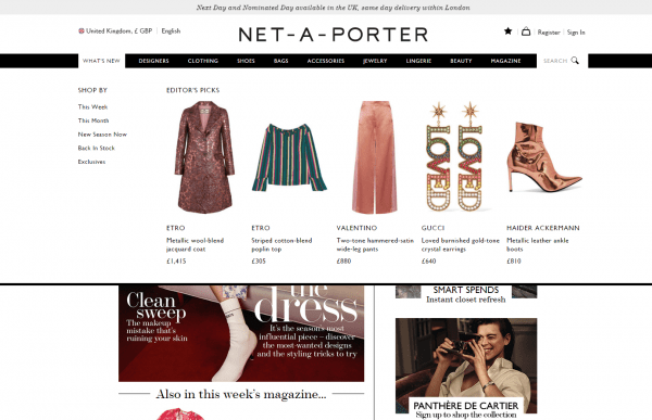 Net-a-porter dynamic product recommendations in navigation