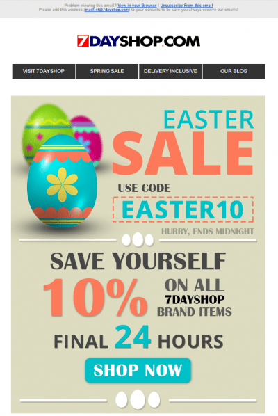 7dayshop Easter sale email