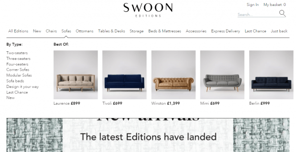 Swoon product recommendations in navigation