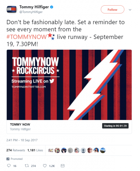 Tommy Hilfiger Twitter Countdown Timer social media digital marketing