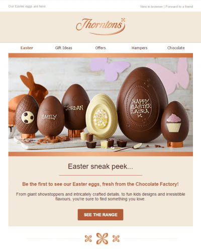 Thornthons sneak peak Easter email