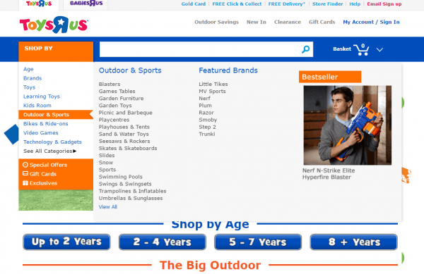 Toys R Us social proof navigation personalization example