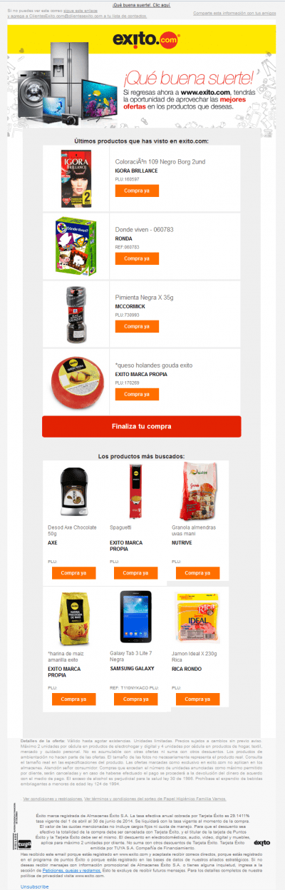 Browse abandon email example exito, product recommendations