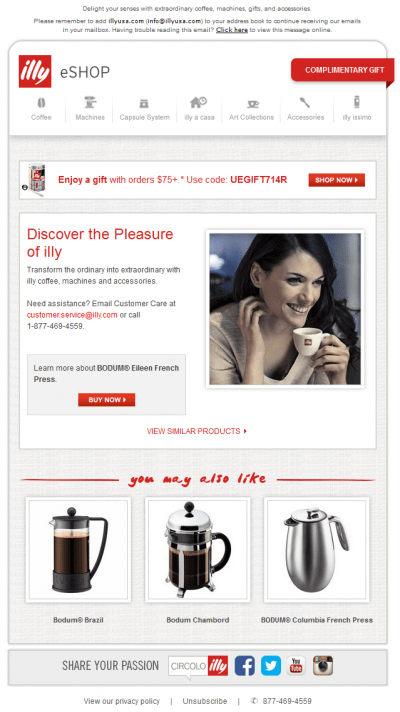 Browse abandon email example illy, other products recommendations, coffee