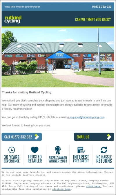 Browse abandon email example rutland cycling, cycle shop sunny day