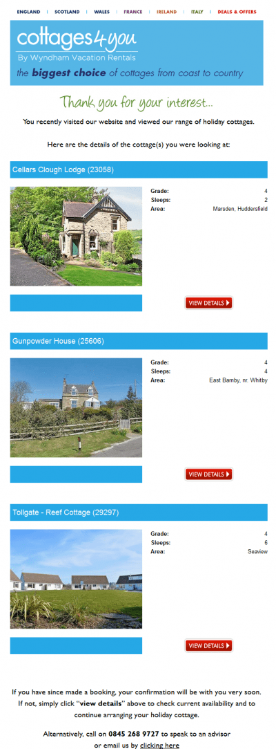 Browse abandon email cottages4you