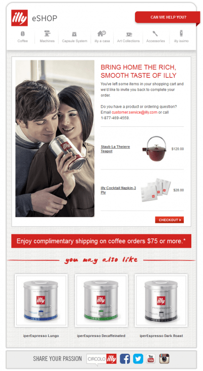 Cart abandon email example 6, illy, couple with coffee