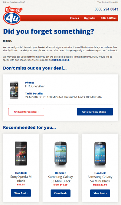 Cart abandon email example phones4u, with product recommendations