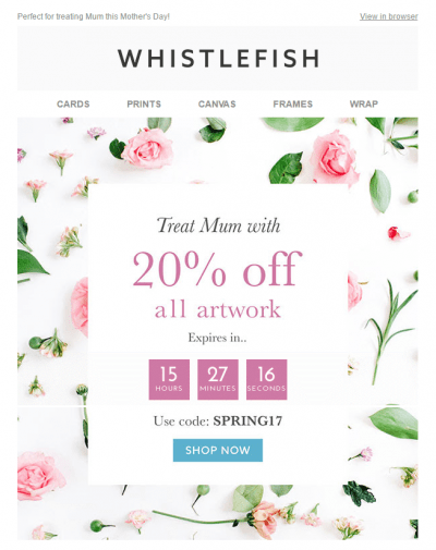 Whistlefish Countdown Mother's Day email