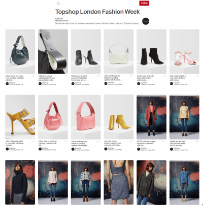 Topshop Pinterest london fashion week social media digital marketing