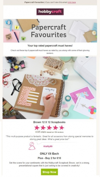 Hobbycraft Social proof example