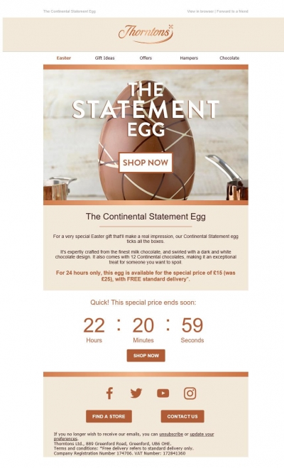 Fresh Relevance Countdown Timer in Eater email by Thorntons