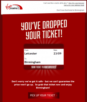 virgin trains travel cart abandonment email