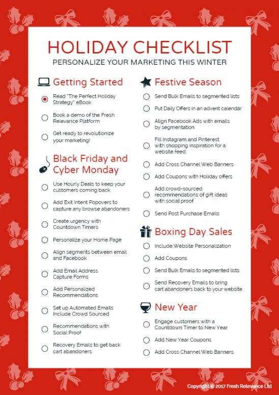 personalization holiday checklist