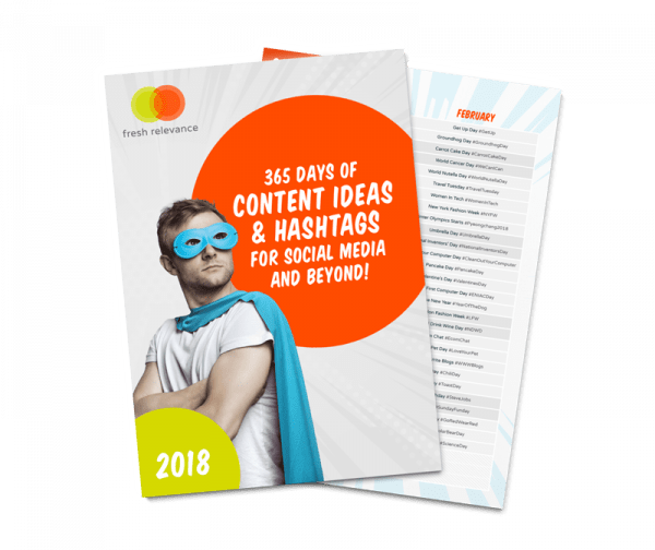 365 days of content ideas and hashtags eBook front cover for social media planning posting and use