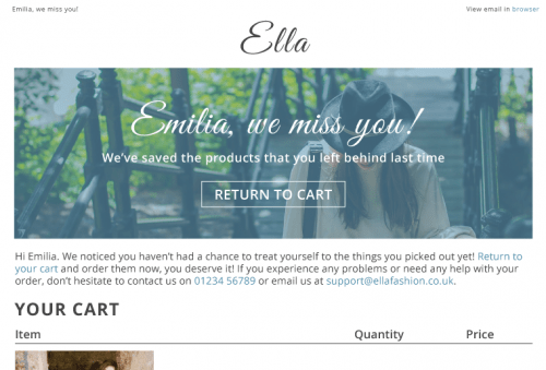 cart and browse abandonment email example fresh relevance personalization platform digital email marketing