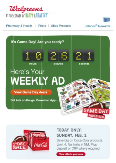 walgreens real-time marketing super bowl countdown timer