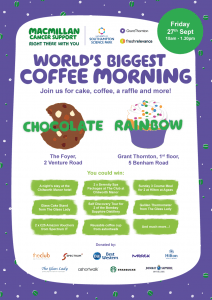 Macmillan Coffee Morning Poster Fresh Relevance Grant Thronton Southampton Science Park