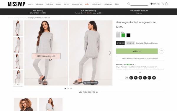 Social proof popularity messaging ecommerce website example