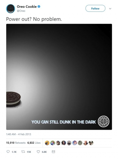 oreo social media super bowl digital re-time marketing campaign