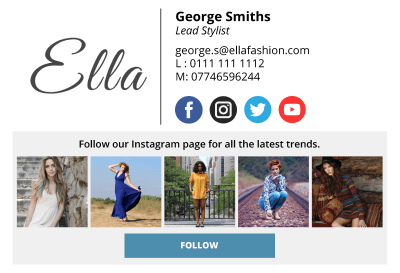 social media email signature real-time mock up