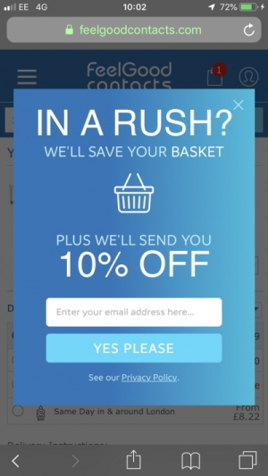 Shopping cart abandonment popover with email data capture and discount incentive