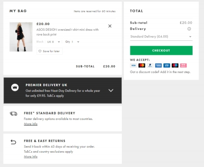 Transparent payment and shipping options on the cart page reduce shopping abandonment