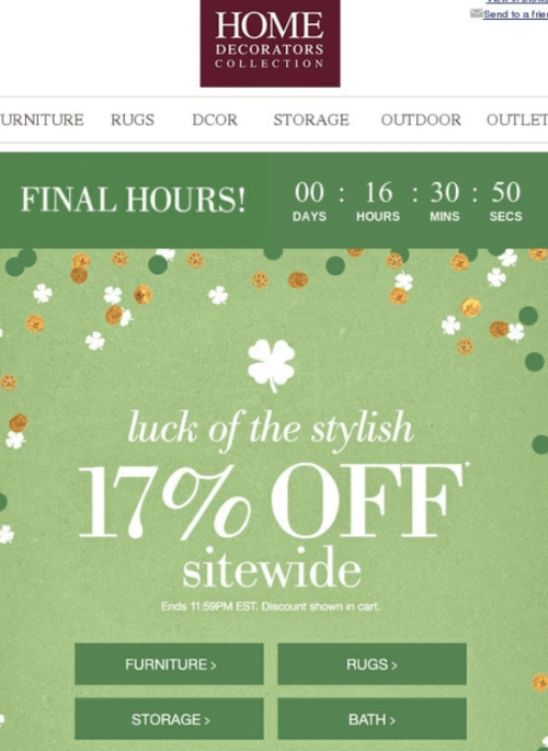 St. Patrick's Day email campaign countdown timer real-time digital marketing platform time pressure