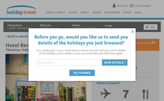 Hotel, airline and travel websites can use data capture popovers to acquire more subscribers
