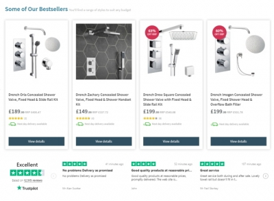 Trustpilot product and service ratings on homepage reduce cart abandonment