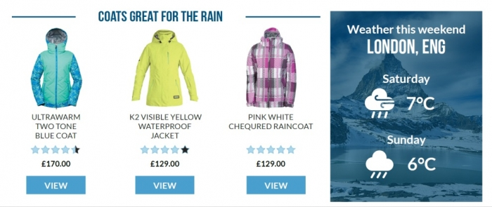 Weather based product recommendations are an example of ecommerce homepage personalization