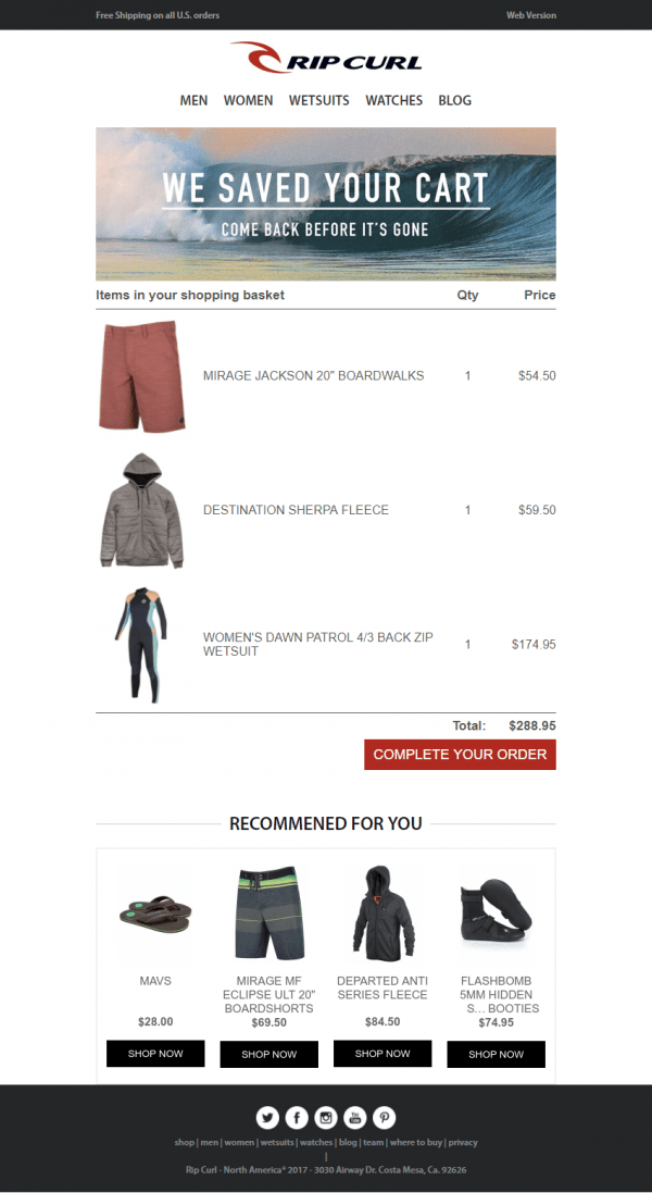 Shopping cart abandonment recovery email example from Rip Curl, including related product recommendations