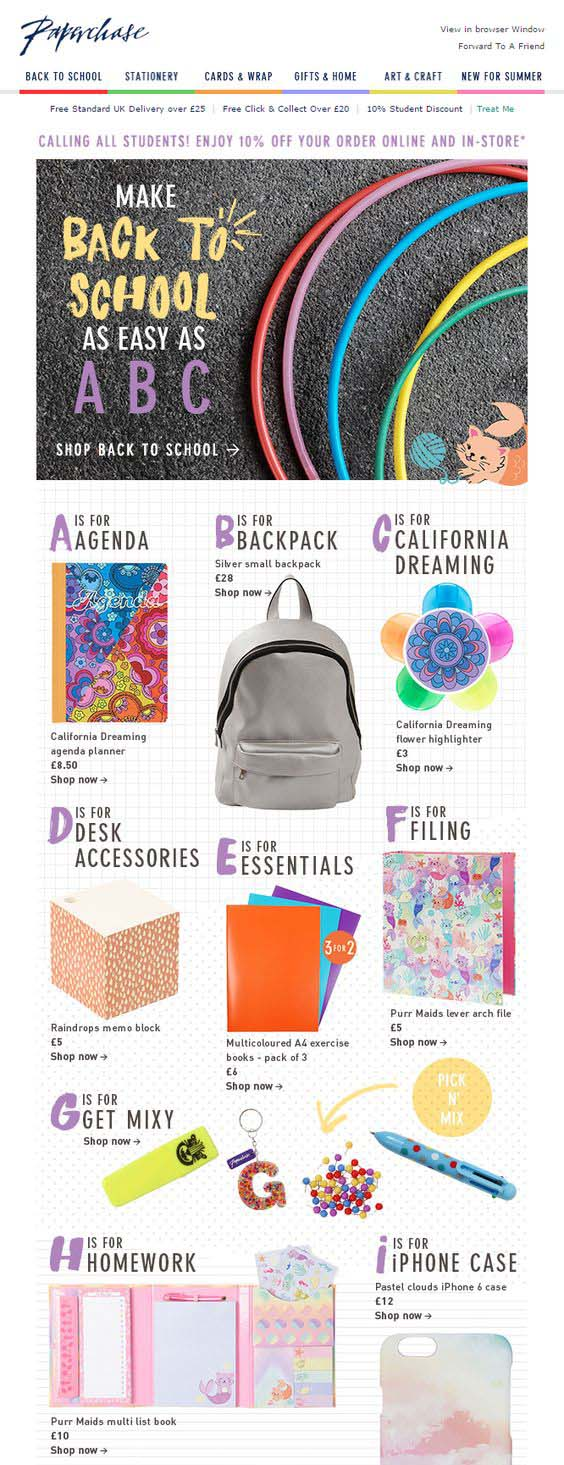 Paperchase back to school email campaign