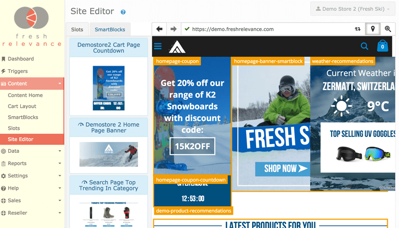 Site editor being used on Fresh Relevance demo store website