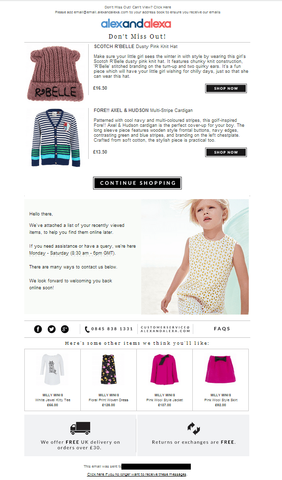 children clothes, cart abandonment with product recommendations to re engage customers