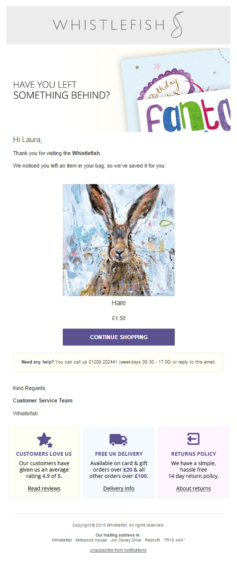 whistlefish cart abandonment email, hare on a card image