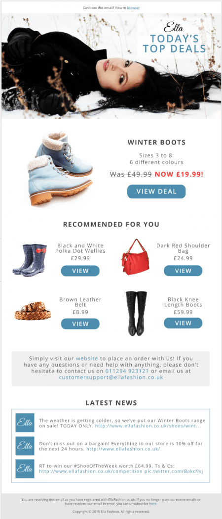Email Personlization example email for top deals