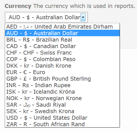 currency options in reporting
