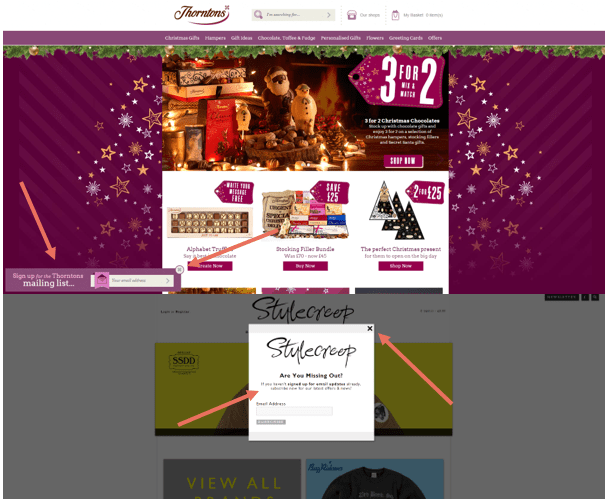 email address capture form, stylecreep, thorntons