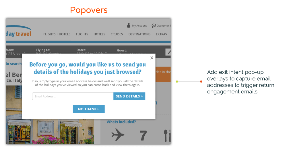 Popover on travel website
