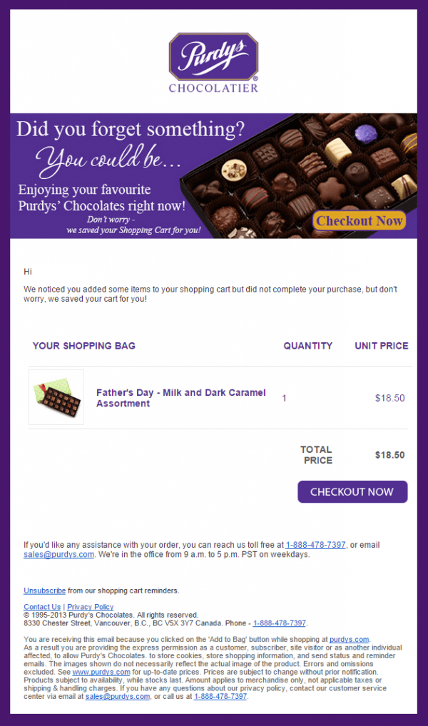 chocolate selection, sweets, cart abandonment email, purdys