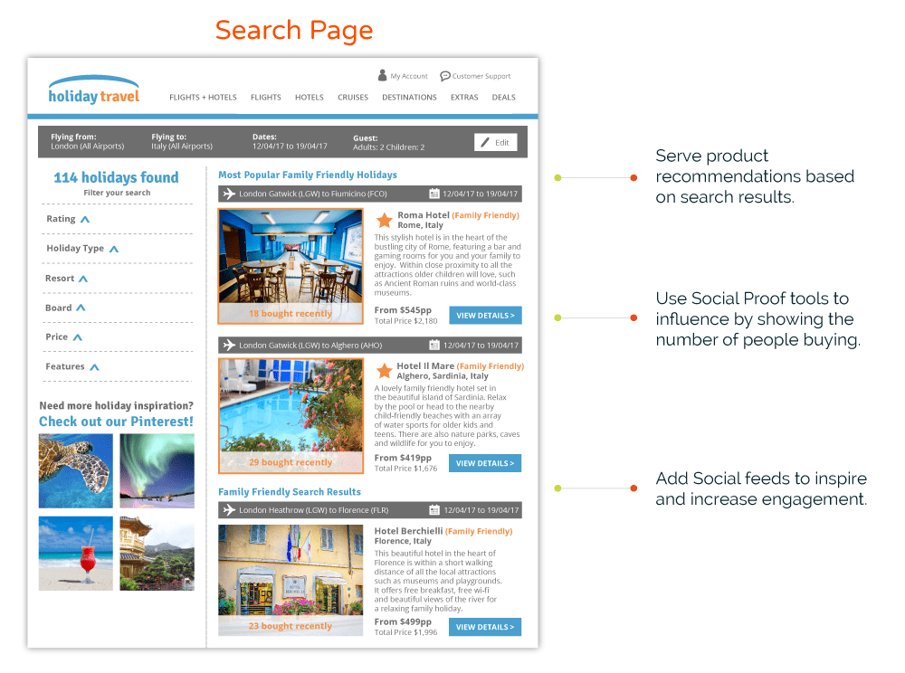 Travel Search Page Personalization and Customization